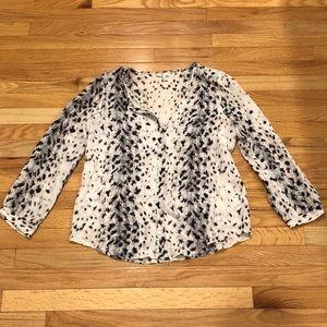 Joie Leopard Print Silk Top sz S
